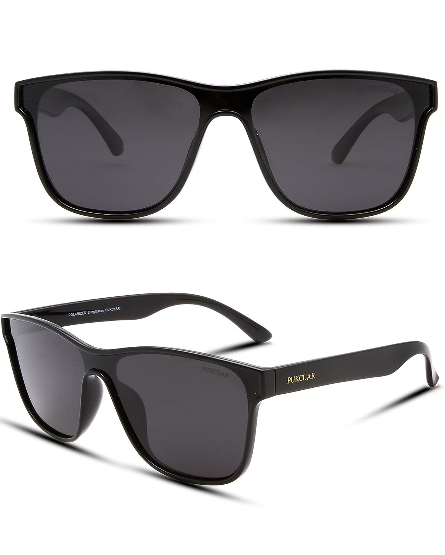 f55dab2a6695 Amazon.com  PUKCLAR Classic 80 s Vintage Style Wayfarer sunglasses Men  Women One piece Lens Polarized Eyeglasses 100% UV400Protection  Clothing