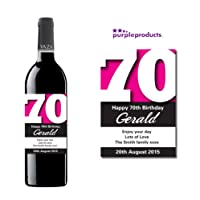 Personalised Pink 70th Birthday Wine Bottle Label Gift for Women and Men