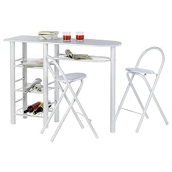 Barhocker Style idimex bartisch tresentisch style in weiß inklusive 2 barhocker