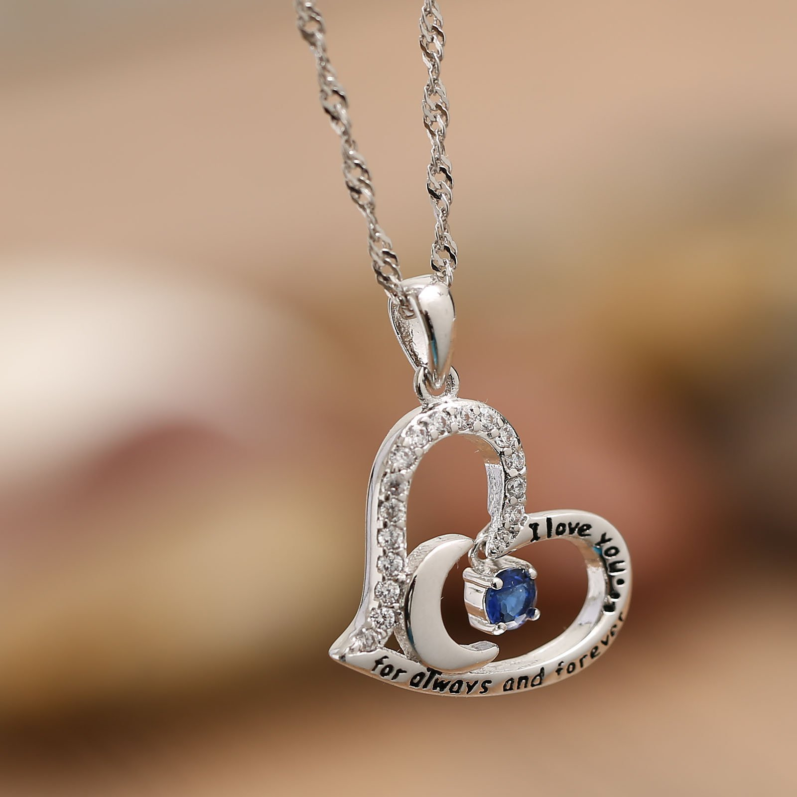 Valentine's Day Gift Fine Jewelry Gift Sterling Silver Heart Pendant Necklace Birthday Necklace I Love You For Always and Forever Dancing Birthstone (09-September-Sapphire) by Anna Crystal Jewelry (Image #4)