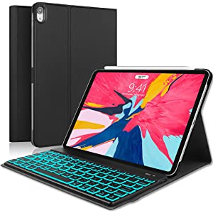 iPad Pro 11 Keyboard Case, Boriyuan 7 Colors Backlit Detachable Keyboard Slim Leather Folio Cover