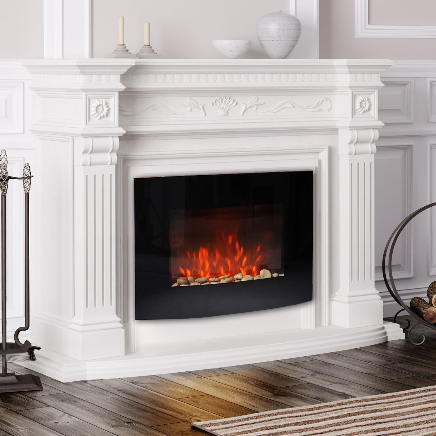 Electric LED Curved Glass Wall Mounted Fireplace – Ideal ...