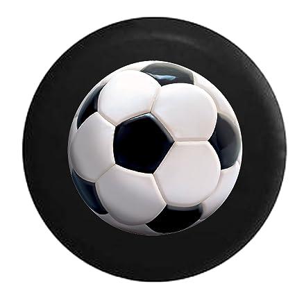 Realista de balón de fútbol blanco y negro cubierta de la rueda de ...