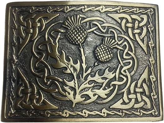 Men's Thistle Stag Head Kilt Belt Buckle Brass Antique Finish For Kilt Belt