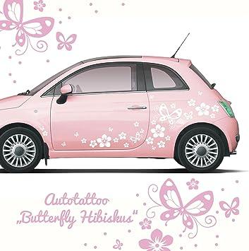 Ilka Parey Wandtattoo Welt Autoaufkleber Autotattoo Butterfly Hibiskus Schmetterlinge 80 Teile Hawaiiblumen Blumenaufkleber Auto Blumen Blüten M1029 Küche Haushalt