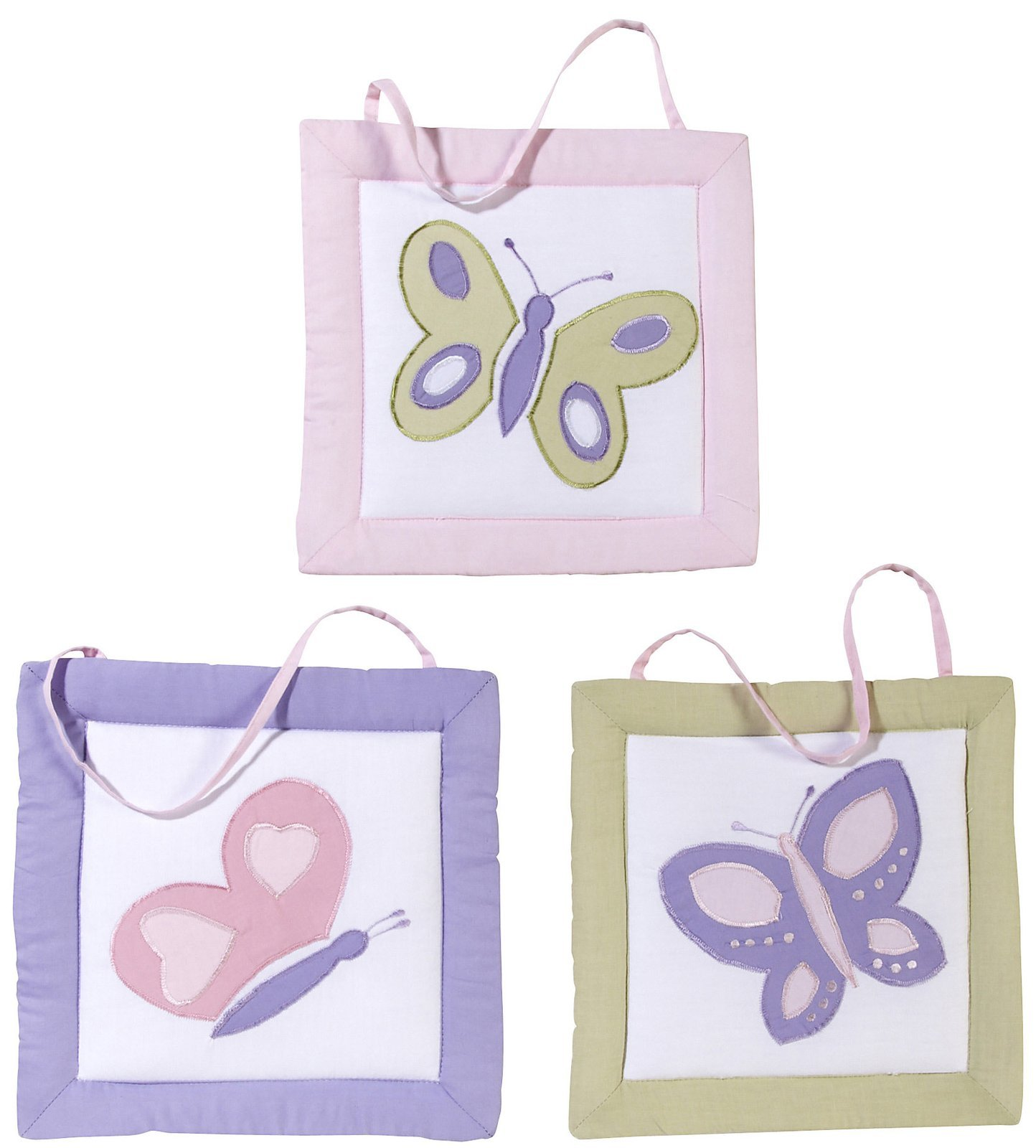 Pink and Purple Butterfly Collection Wall Art Hangings by Sweet Jojo Designs