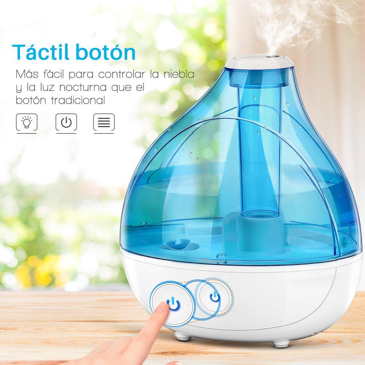 300ml Bebé Humidificador Ultrasónico Aromaterapia, Seguridad y Añadir la Humedad, con vapor frío sano, Difusor de Aceites Esenciales, ...