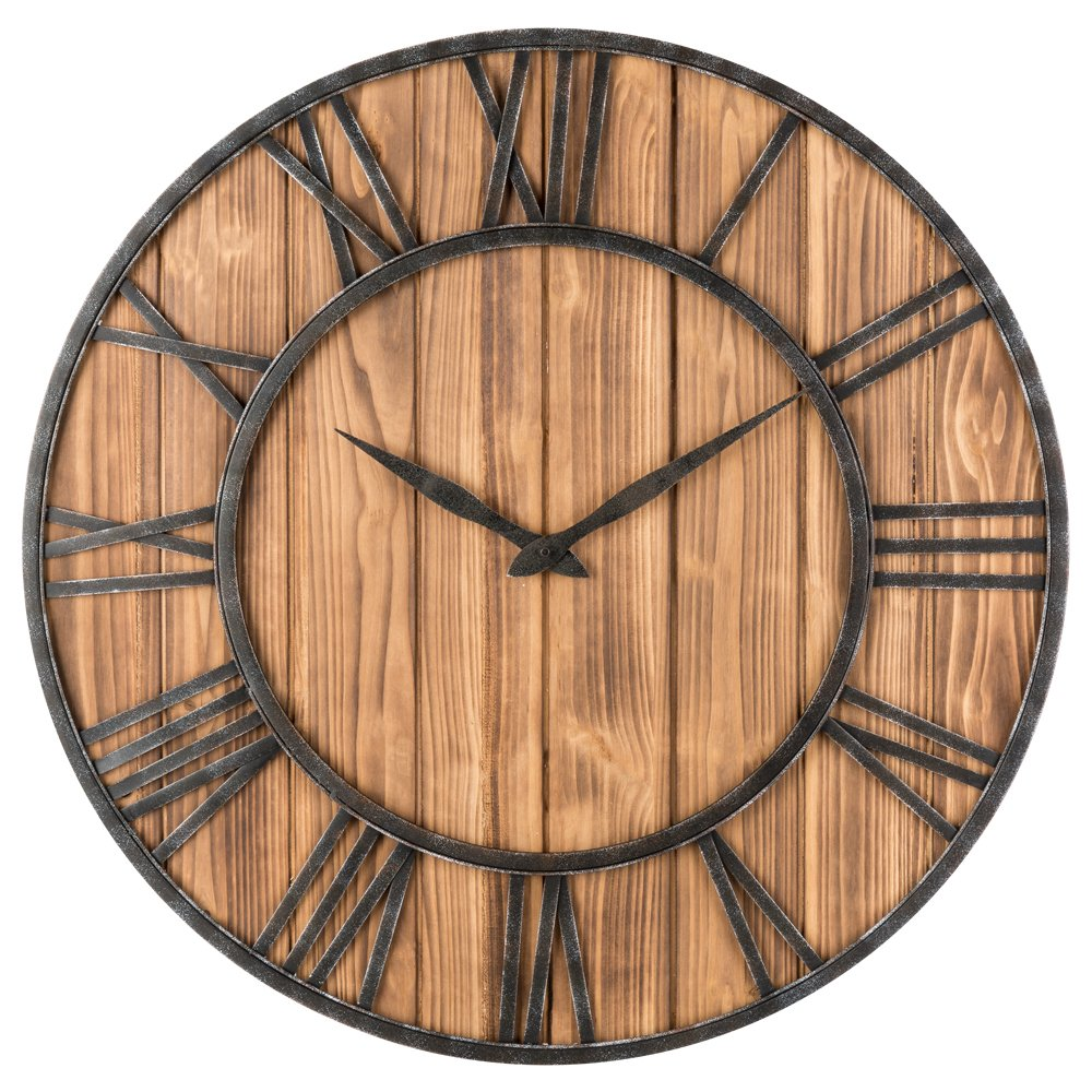 OLDTOWN Farmhouse Metal & Solid Wood Whisper Quiet Ticking Wall Clock (Wood, 30-inch)