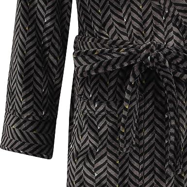 46c7c0e619 Walker Reid Mens Herringbone Dressing Gown Flannel Fleece Kimono Style Wrap  Bath Robe Medium (Grey