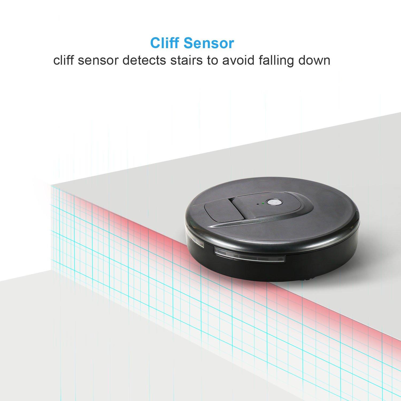 Aspirador robótico Aspiradoras inteligentes Robot Sweeper Aspiradora de alta aspiración inalámbrica Smart Robotics Hoover con tecnología Drop-Sensing, ...