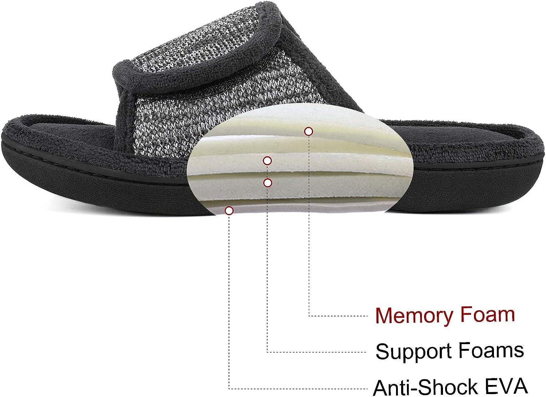 RockDove Mens Adjustable Wrap Memory Foam Slide Slipper