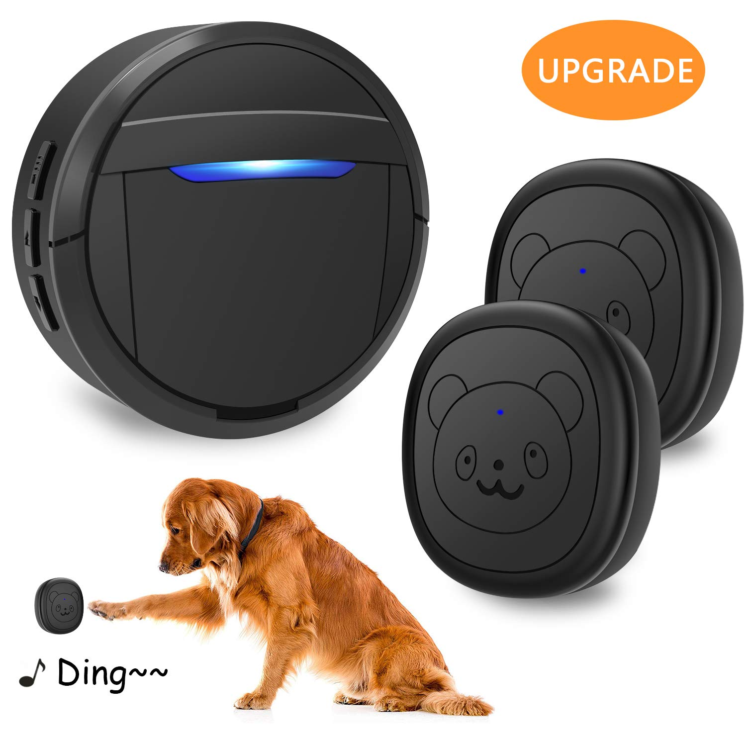 weird tails Wireless Doorbell, Dog Bells for Potty Training IP55 Waterproof Doorbell Chime Operating at 950 Feet with 55 Melodies 5 Volume Levels LED Flash (1 Receiver 2 Transmitters) by weird tails