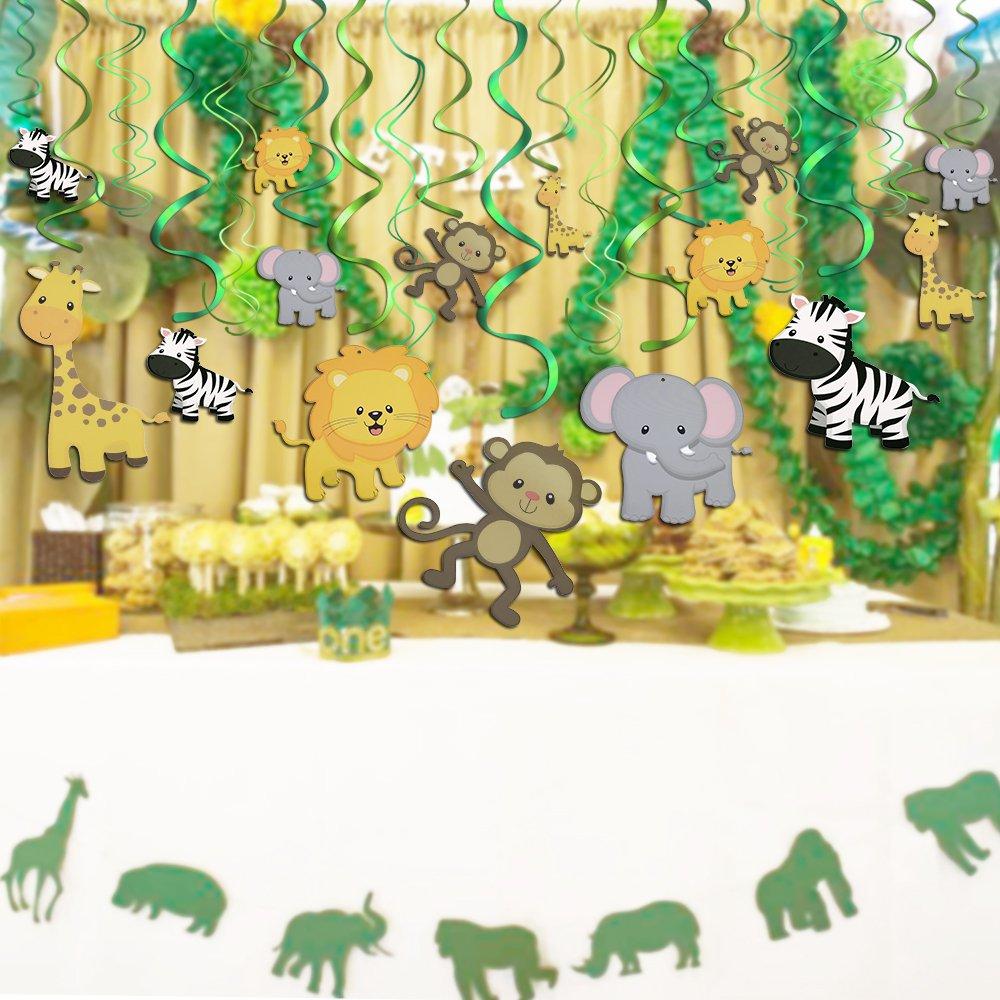Konsait Salvaje Selva Animal Colgar Decoraciones de Remolino Adornos de espirales para Infantiles Niños Regalo Fiestas de cumpleaños Suministros ...