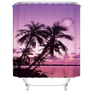 Schönes Natürliches Scenery Möve Palme Beach Sunrise Badezimmer  Schimmelresistent Stoff Duschvorhang Wasserdicht, Type2, 36x72