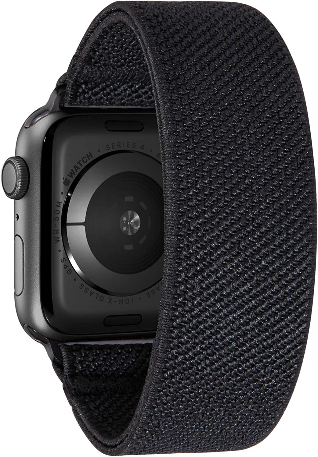 Nomchi Double Layer Loop Elastic Compatible/Replacement Band for Apple Watch 38mm 40mm 42mm 44mm (Solid Black, Wrist Size: 5.5-5.9 inch (S),42mm/44mm)