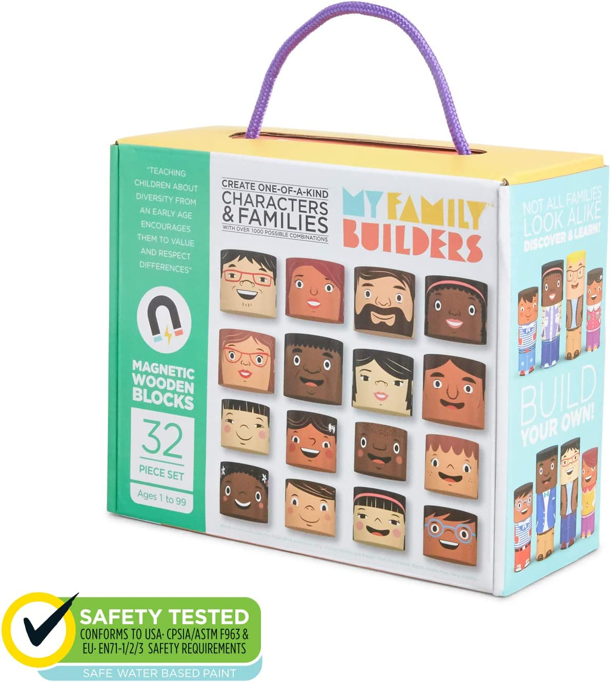 My Family Builders Outfits Expansion /& Replacement Diversity Building Blocks Set Build Little People Figures for Cultural Inclusion and Empathy 16 Piece Wooden Blocks for Multiracial Play Figures