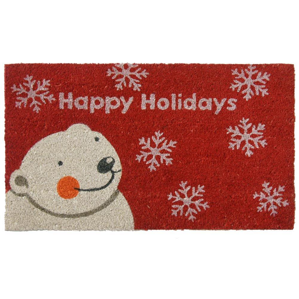 Amazon.com: Rubber-Cal Happy Holidays Doormats Christmas Mats, 18 ...