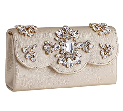 Womens Beaded PU Leather Evening Clutch Bag 2Way Formal Party Flap Shoulder  Bag(Champagne) 4d9a74c08ffe