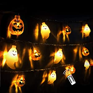 FUNNISM Halloween String Lights,20ft 30 LED Battery Powered Orange Halloween Ghost & Pumpkin Waterproof Fairy Lights Dimmable 8 Modes with Remote for Halloween House,Garden Decorations Outdoor/Indoor
