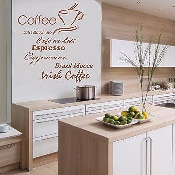 Indigos w198 Wandtattoo Küche Kaffee mit Coffee, Cappuccino und  Kaffeetassen Motiv, selbstklebendes Wandbild ideal für Esszimmer und  Gastronomie, ...