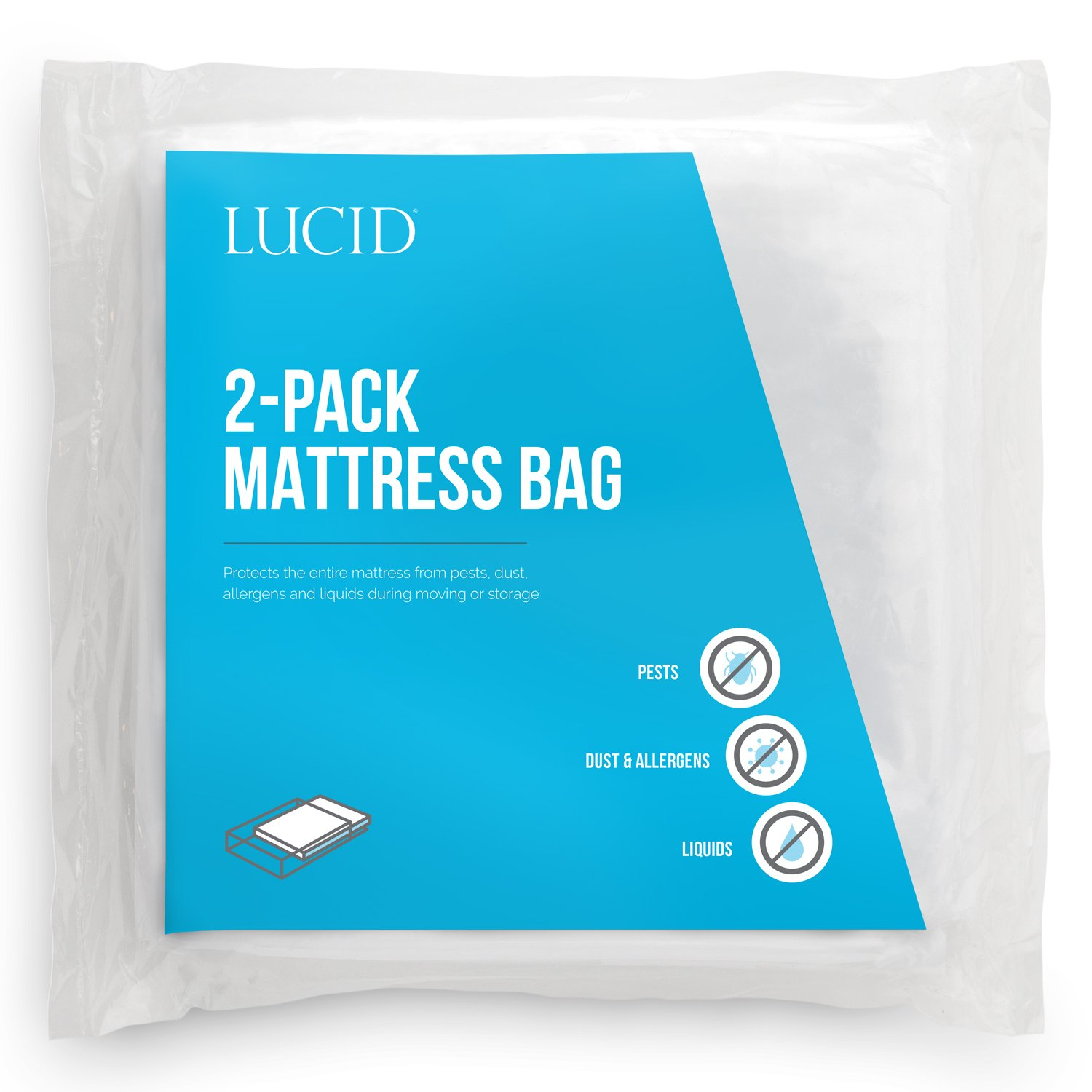 LUCID 2-Pack Mattress Moving and Storage Bags - Water and Dirt Resistant 2 mil Polyethylene - Twin LU02TXMB