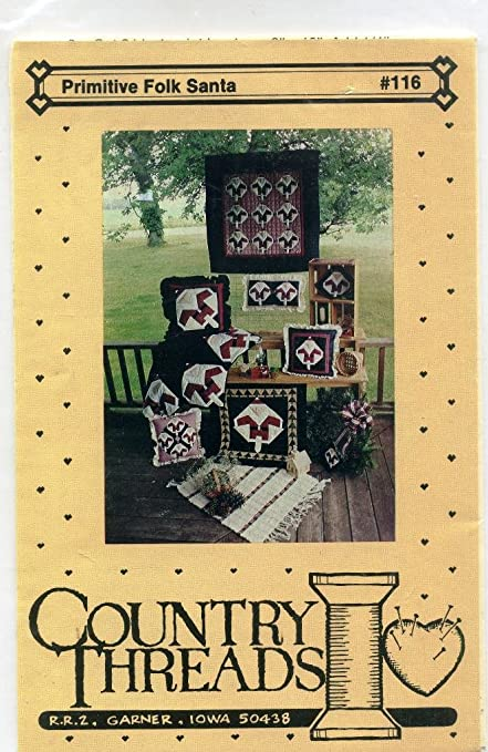 Amazon Primitive Folk Santa Sewing Pattern For Wall Quilt