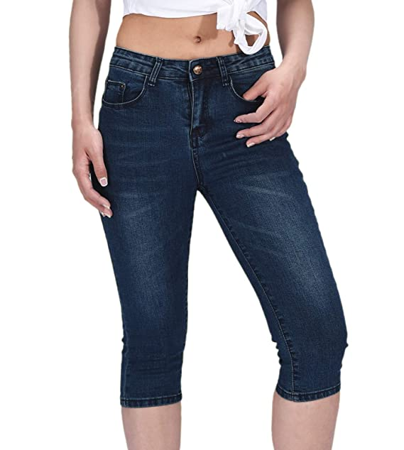 Amazon.com: PHOENISING - Pantalones vaqueros para mujer, 3/4 ...