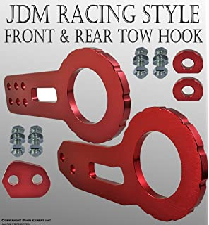 DNA MOTORING DNA THK-JDM-BK Black Aluminum Front//Rear Japanese Car Trailer Tow Hook Ring Kit-M18 x 2.5
