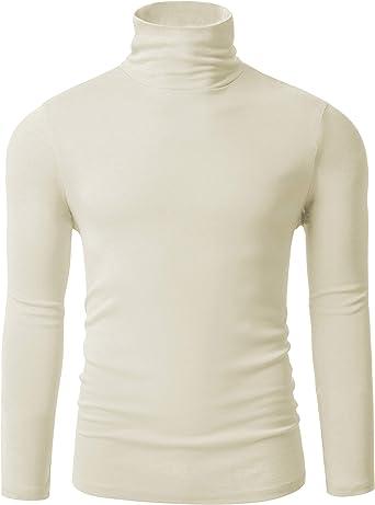 ZEGOLO Mens Thermal Mock Turtleneck Long Sleeve T Shirt Knitted Pullover Basic Slim Fit Shirts