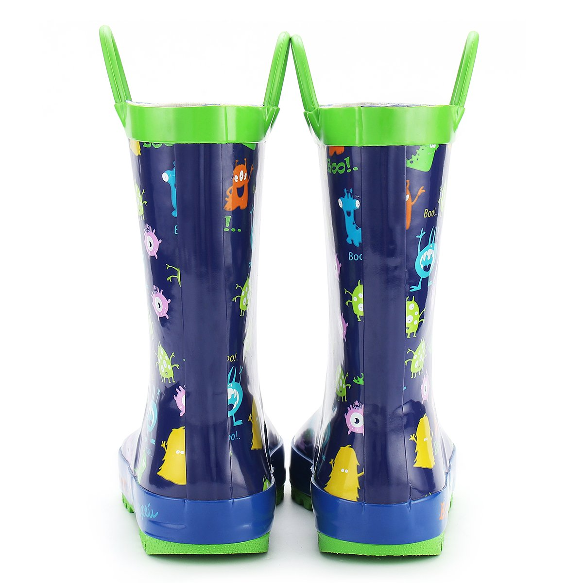 KomForme Kids Rain Boots Waterproof Rubber Printed with Handles in Various Prints and Different Sizes