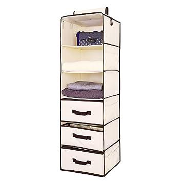 Hanging Closet Organizer, Foldable Closet Hanging Shelves With 2 Drawers U0026  1 Underwear Drawer By