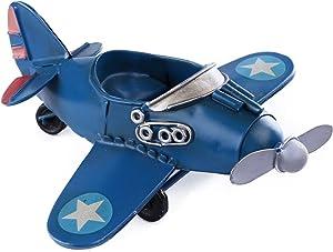 Vintage/Retro Iron Metal Propeller Airplane Plane Aircraft Handicraft Models - Photo Props Home Decor/Ornament/Souvenir Study Room Desktop Decoration (Blue)