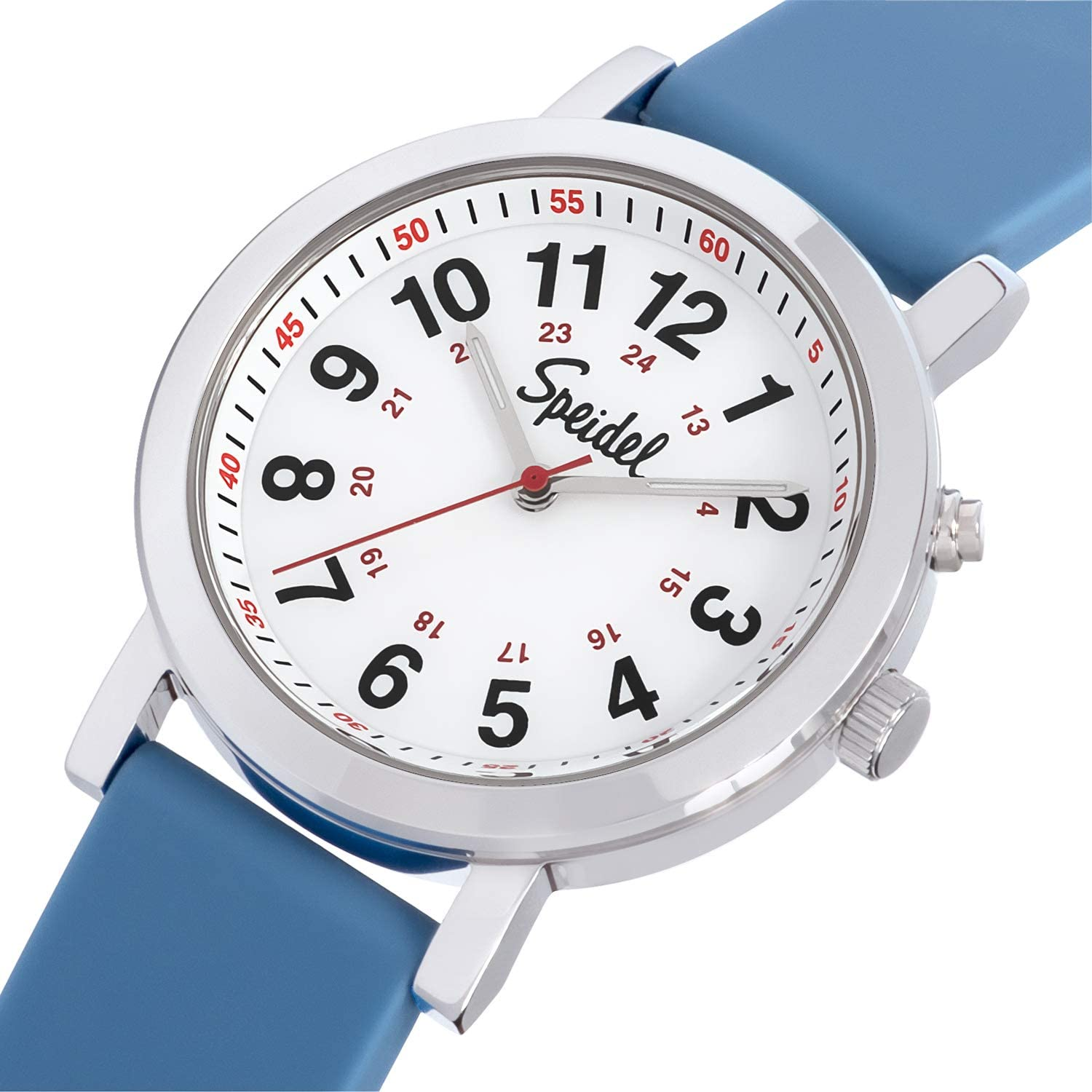Speidel Medical Scrub Glow Watch - Silicone Band, 24 Hour Marks, Second Hand, Lighted Easy-Read Face Blue