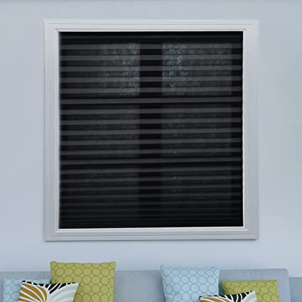window shades for home residential pack black cordless pleated fabric shades room darkening window blinds trimat amazoncom
