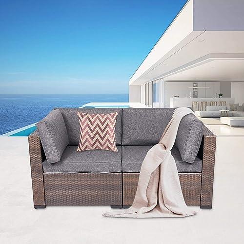Kinbor 2 Piece Wicker Corner Sofa Set Patio Loveseat Furniture Outdoor Sitting Chair