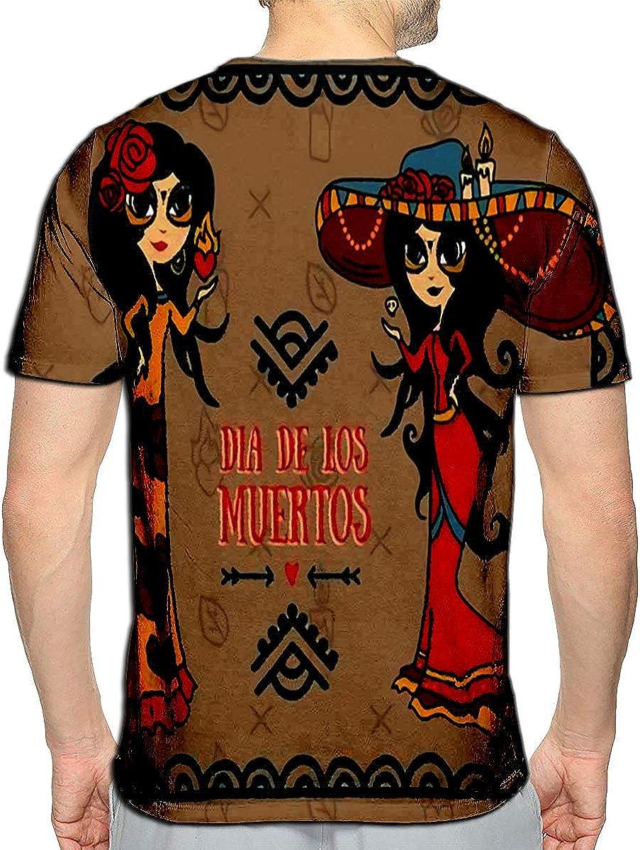 3D Printed T-Shirts Card for Dia De Los Muertos Two Doodle Sugar Scull Girls Sho