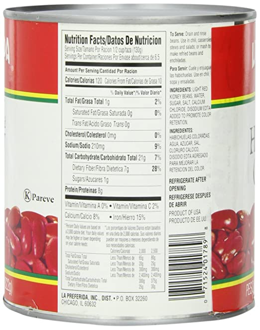 Amazon.com : La Preferida Light Red Kidney Beans, 29-Ounce (Pack of 12) : Kidney Beans Produce : Grocery & Gourmet Food