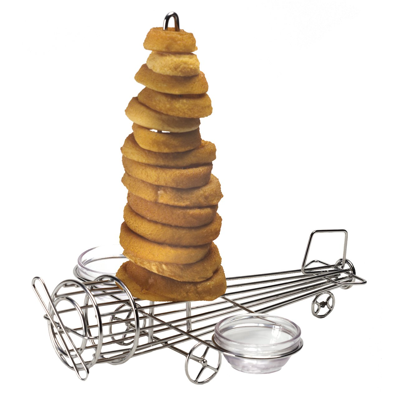 """12"""" x 11"""" Airplane Shape Onion Ring Tower with Two Sauce Cup Holders, Stainless Steel by GET 4-882808 (Sauce Cups Sold Separately)"""
