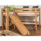 Children's bed / Loft Bunk bed Samuel solid, natural beech wood, includes slide, includes roll-up grille - 90 x 200 cm