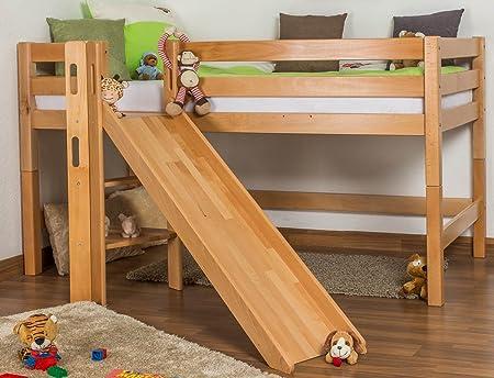 Etagenbetten Mit Rutsche : Kinderbett hochbett samuel buche vollholz massiv mit rutsche natur