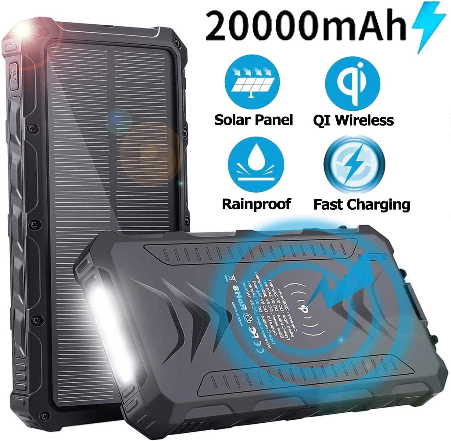 Sendowtek Batería Externa Solar 20000mAh, Batería Portátil Solar Power Bank con Cargador USB/USB C/Qi Wireles para Smartphone Tablet PC, Linterna SOS para Viajes de Campamento: Amazon.es: Electrónica