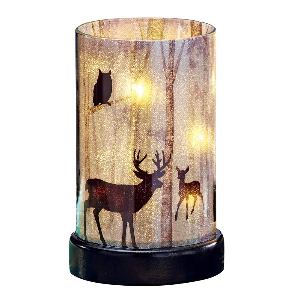 Northwoods Woodland Creature Lighted Hurricane Candle - Cabin Home Decor
