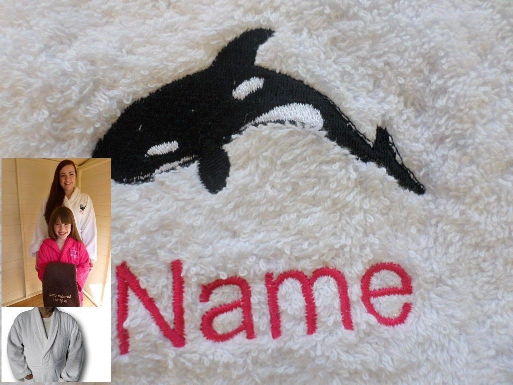 Adult Bath Robe with a ORCA Logo and Name of your choice in White, Size Medium, Large, XLarge or XXLarge (Large)