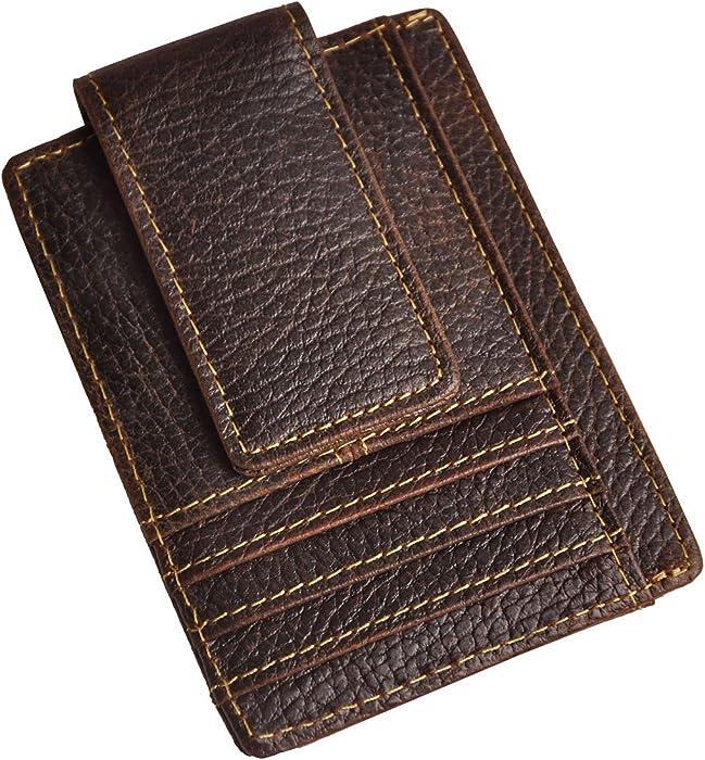 727b1127fea7 Le aokuu Genuine Leather Magnetic Front Pocket Money Clip Slim Wallet Card  Case (Dark