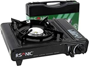RSonic - Hornillo de Gas portátil con maletín de Transporte (versión Larga, Norma de la UE 2.2 KW), Color Negro: Amazon.es: Deportes y aire libre