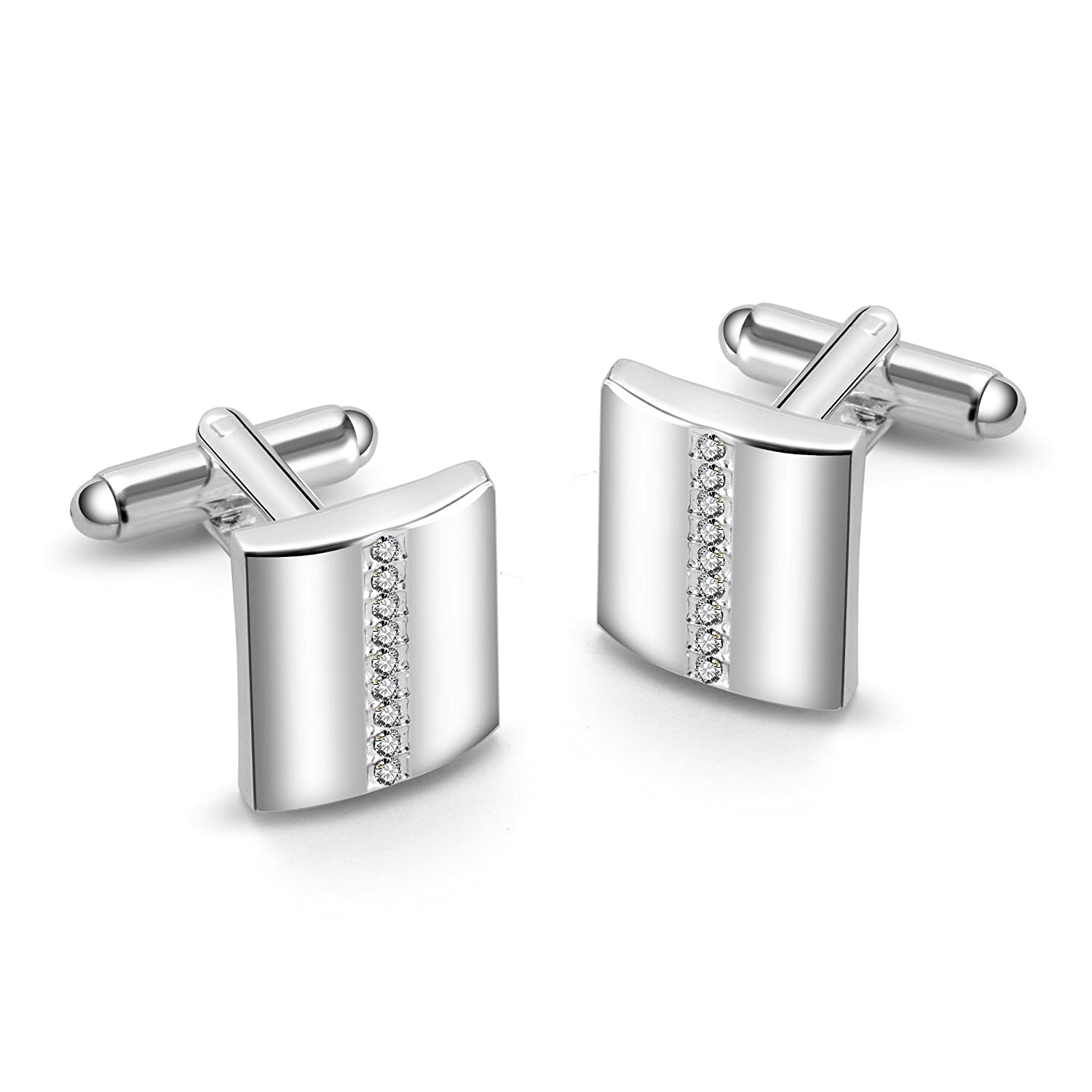 Silver Cufflinks Created with Austrian Crystals