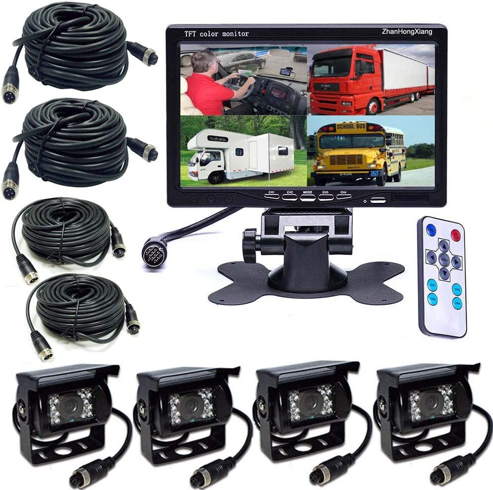 Amazon Com Vehicle Backup Cameras Monitor Hd 1080p 12v 24v 4x 4 Pin Ahd Car Reverse Rear View Camera Kit 7 Inch Ips 4ch Quad Split Monitor For Bus Truck Trailer Rv Heavy Duty