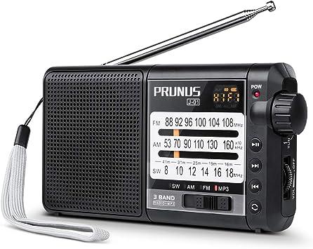 Actualizado] J-01 Radio portátil pequeña, Transistor PRUNUS Radio Am/FM/SW con excelente recepción, batería Recargable de 2200 mAh, Reproductor de MP3 con Tarjeta TF: Amazon.es: Electrónica