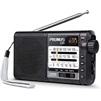 Radio PRUNUS J-01, Excellent Réception FM/AM(MW)/SW/Micro SD/MP3/WMA, Portable Transistor DSP, Batterie Rechargeable et Remplaçable de 2200mAh (20h d'écoute) [FM: 88-108MHz]