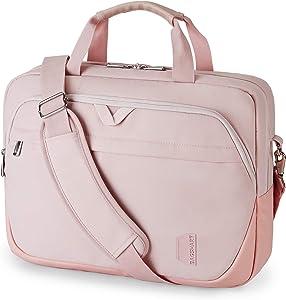 Laptop Bag,BAGSMART 15.6 Inch Briefcase Lockable Office Bag for Women,Light Pink